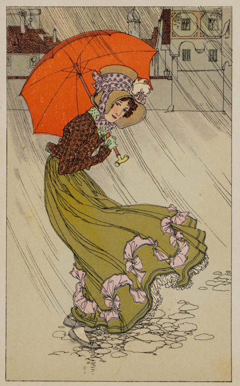Stuck in the rain. Attributed to Mela Koehler,1885–1960. Color lithograph on card stock