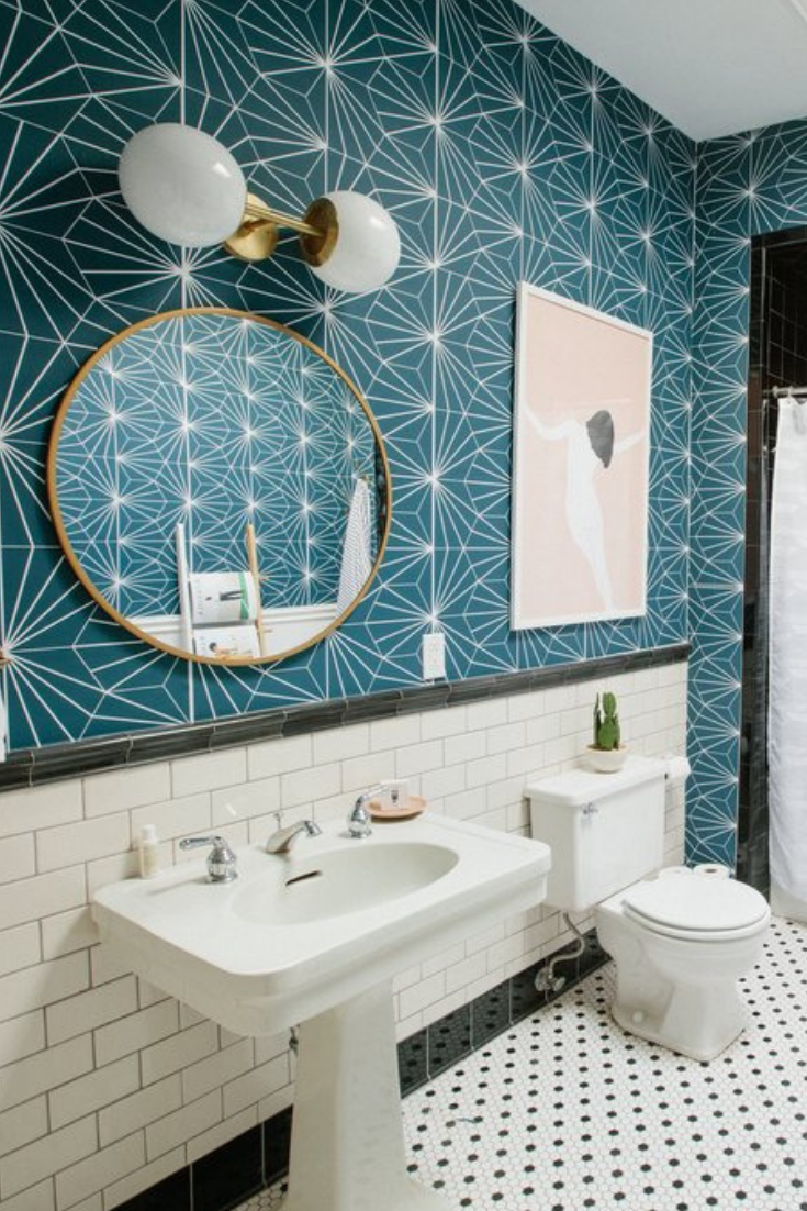 The Best Removable Wallpaper For Renters Accent Walls Bathrooms And Mor Best Removable Wallpaper Wallpaper Accent Wall Bathroom Removable Wallpaper Bathroom