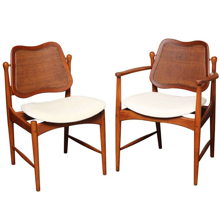 Six Arne Vodder Teak & Cane Dining Chairs  Teak Dining Chairs Pleasing Cane Dining Room Chairs Inspiration