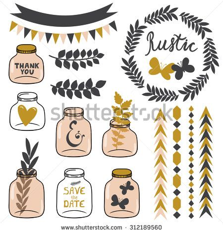 Vector Set Of Rustic Elements Different Jars Wreath Heart Butterflies Branches