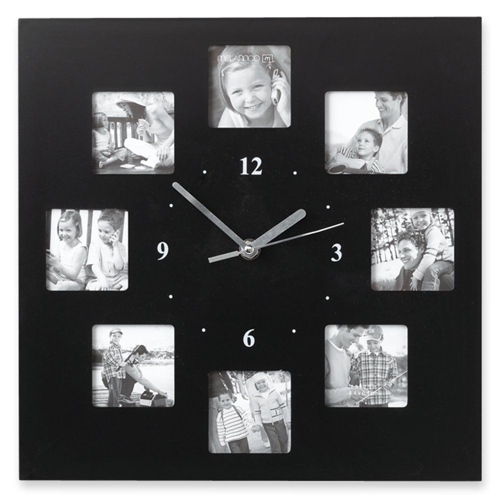 Photo Collage Wall Clock Frame 12 Inch Black 8 Photos Measure 12 Inch Square Photoclock Wall Clock With Pictures Frames On Wall Framed Photo Collage