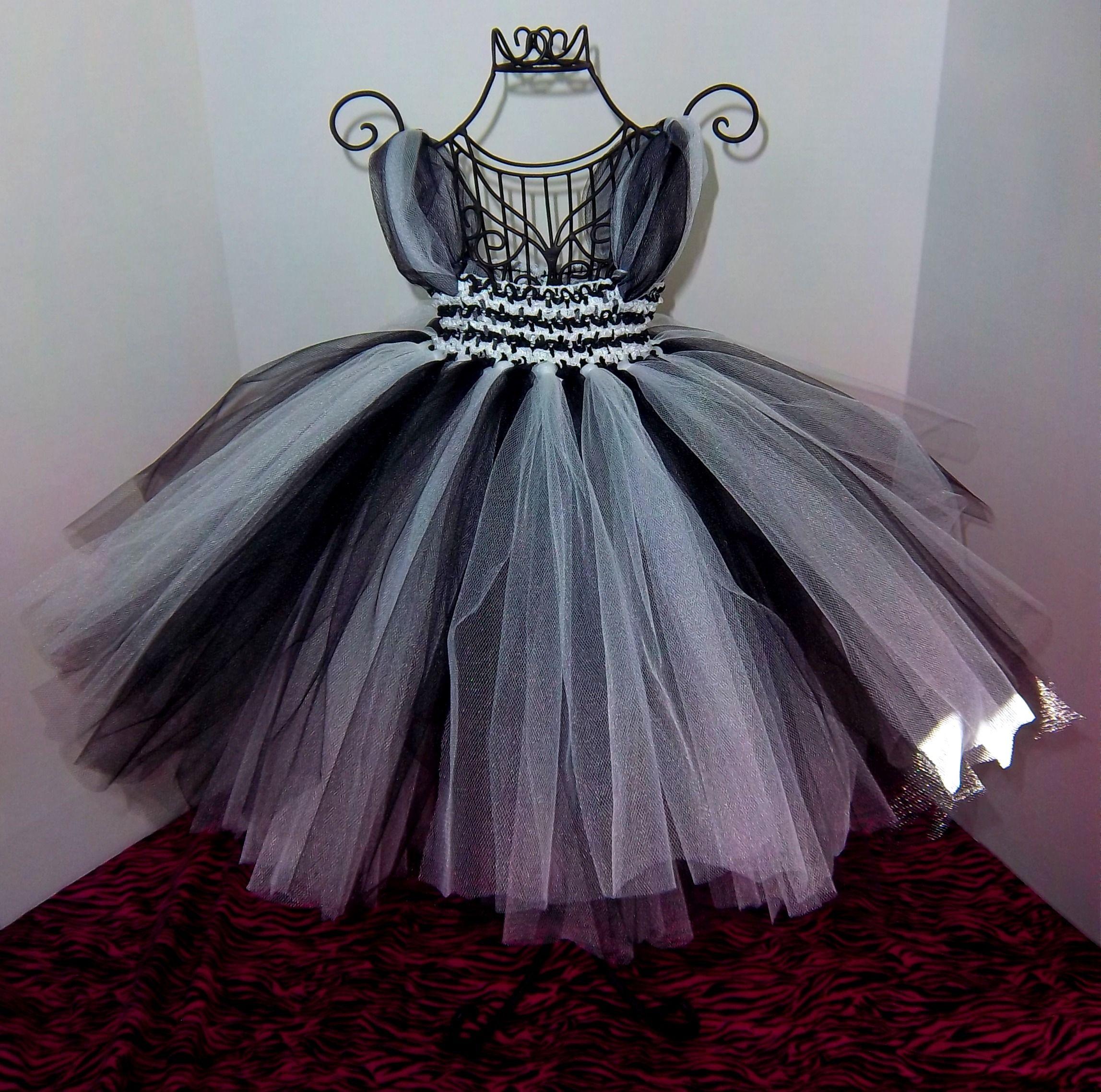 Tutu tulle dress black/white (zebra)