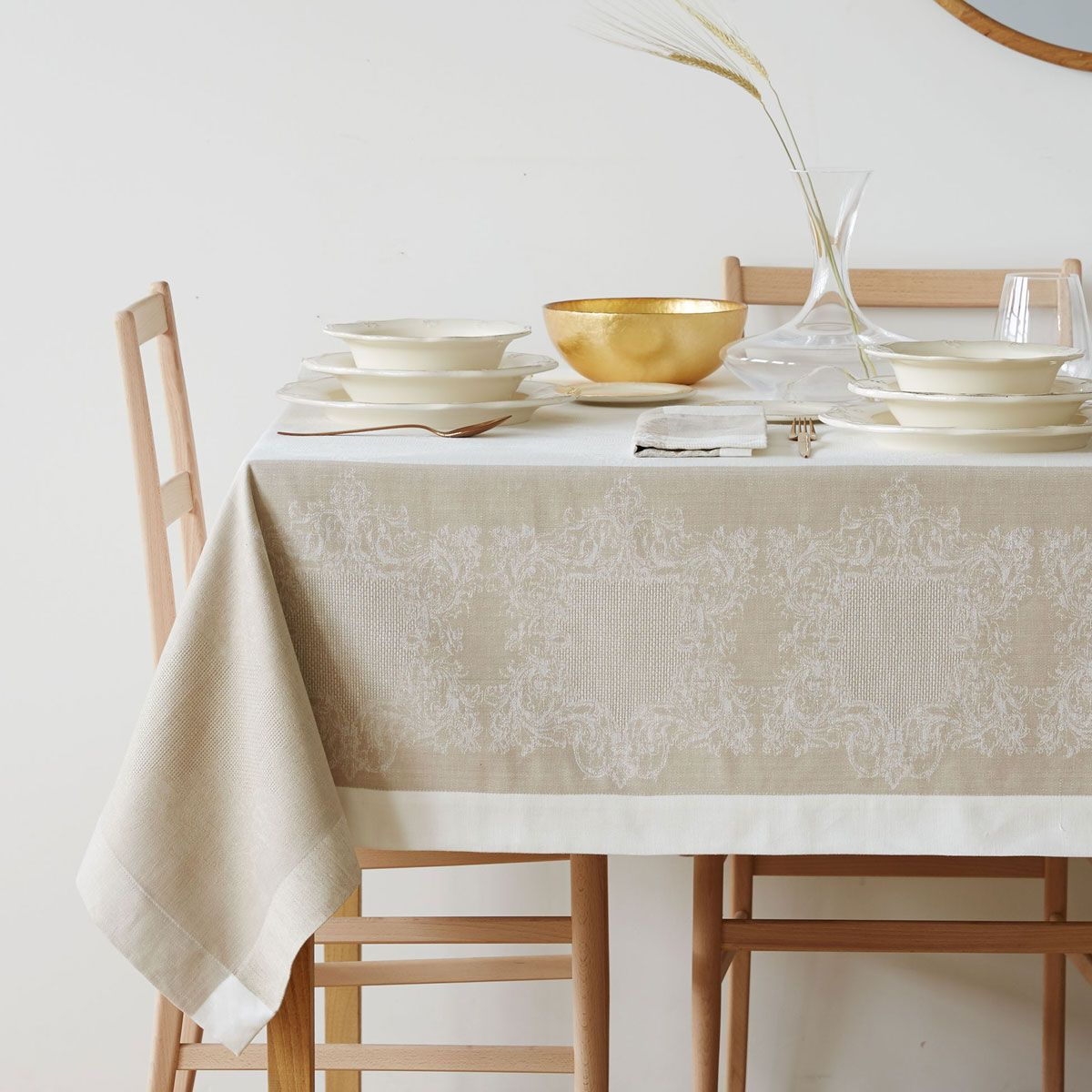 Natural Jacquard Linen Napkins And Tablecloth Table Cloth Linen