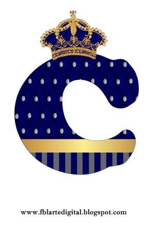 Alfabeto Personalizado Com Tema Realeza Azul Marinho Lucca