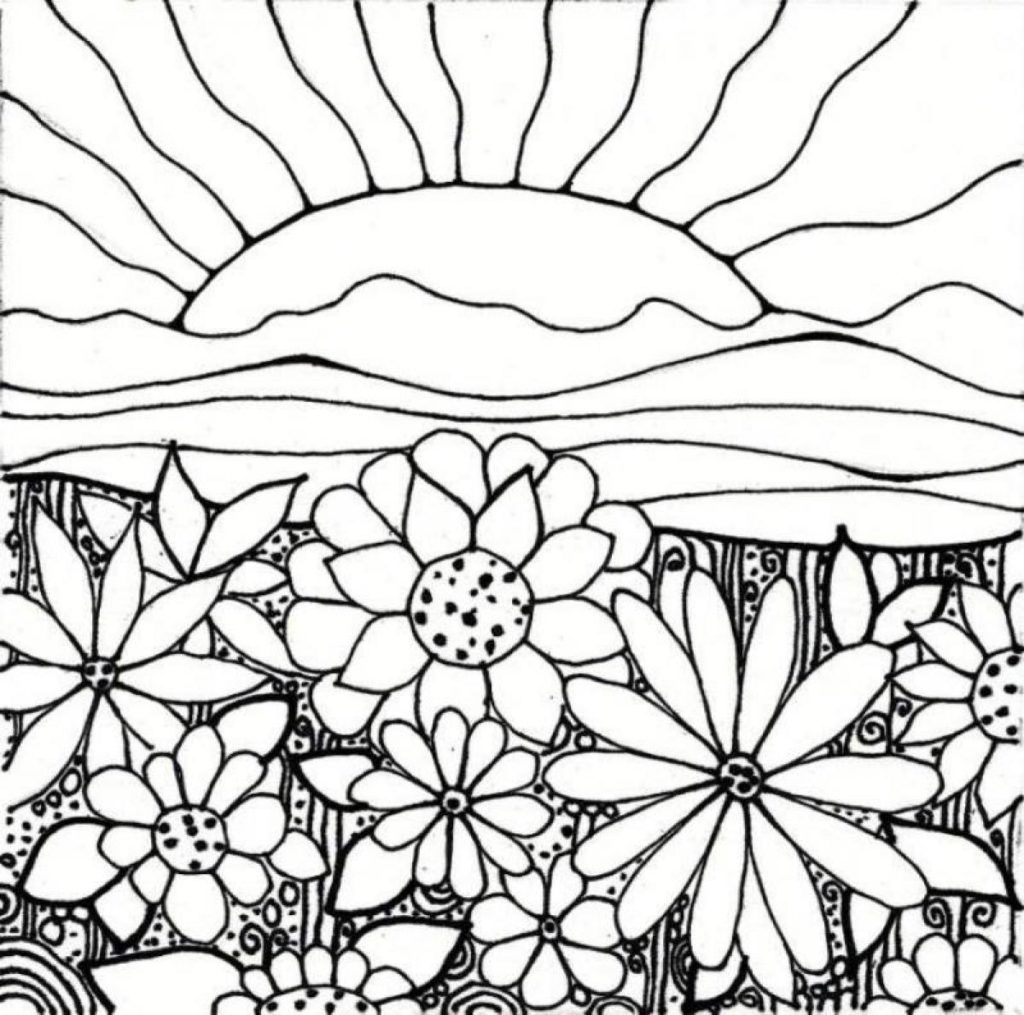 Coloring Rocks Garden Coloring Pages Flower Coloring Pages Sun Coloring Pages