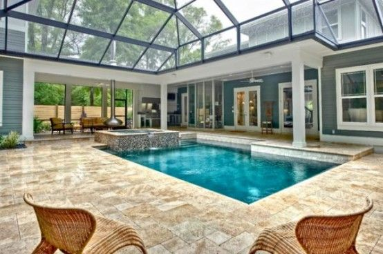 Indoor Pools In Homes Adorable Images Of Indoor Courtyard Pool Homes  Interior Indoor Homes Pool Inspiration