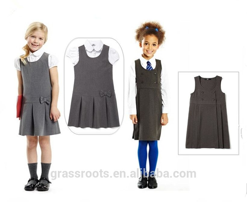 Fashionable primary school uniform design school dress for