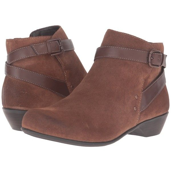 Comfortiva Ryder (Whiskey/Drum Brown) Women's Pull-on Boots ($115) ❤ liked on Polyvore featuring shoes, boots, ankle booties, ankle boots, brown leather bootie, short boots, short leather boots, short brown boots and bootie boots