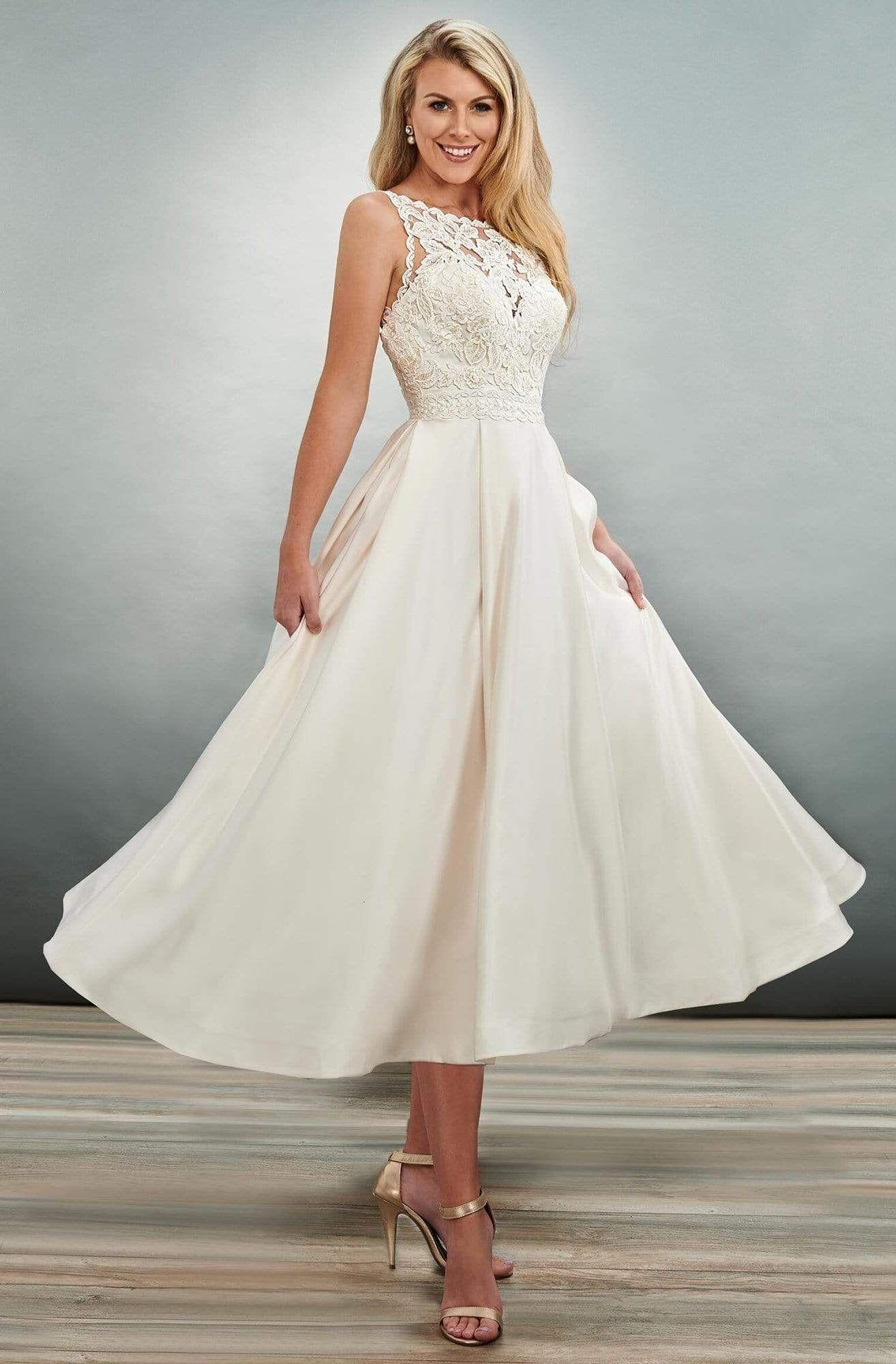 Mary S Bridal Mb2079 Bateau Embroidery Tea Length Dress Tea Length Wedding Dress Vintage Tea Length Wedding Dress Wedding Dress For Short Women [ 2000 x 1314 Pixel ]