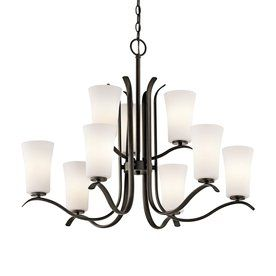 Kichler Armida 32.5-In 9-Light Olde Bronze Etched Glass Tiered Chandelier 43075Oz