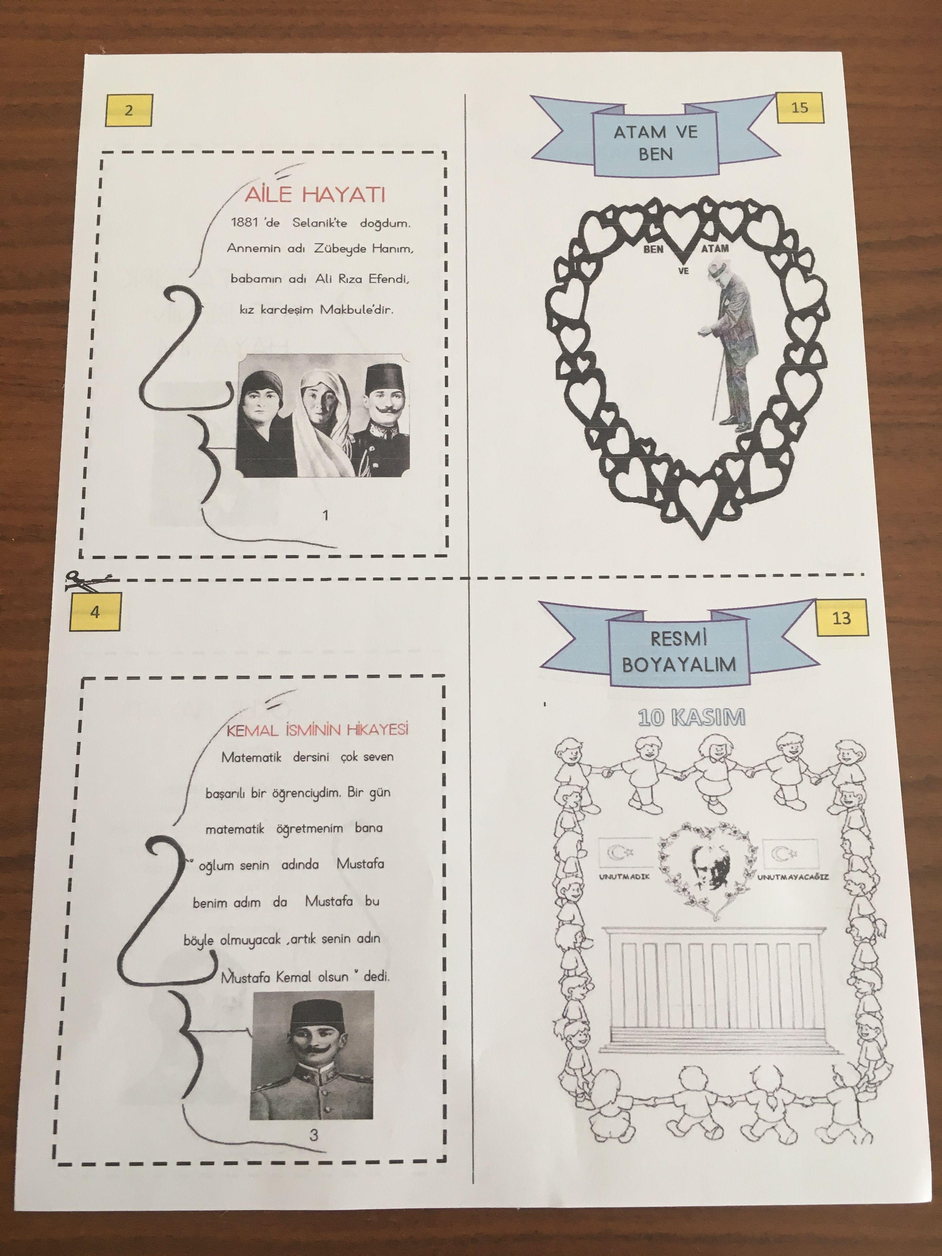 10 Kasim Ataturk Un Hayati Kitapcik Cigdem Ogretmen Okul Oncesi Calisma Cizelgeleri Egitim Ogretim