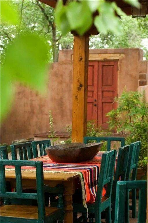 Outdoor Spanish Decor Backyards In 2019 Santa Fe Style