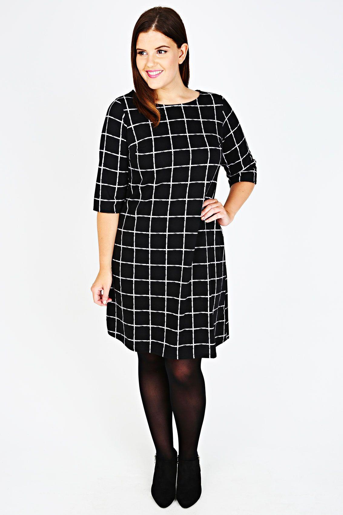 7c39acc61fa Black   White Check Print Sleeved Dress Plus size 14