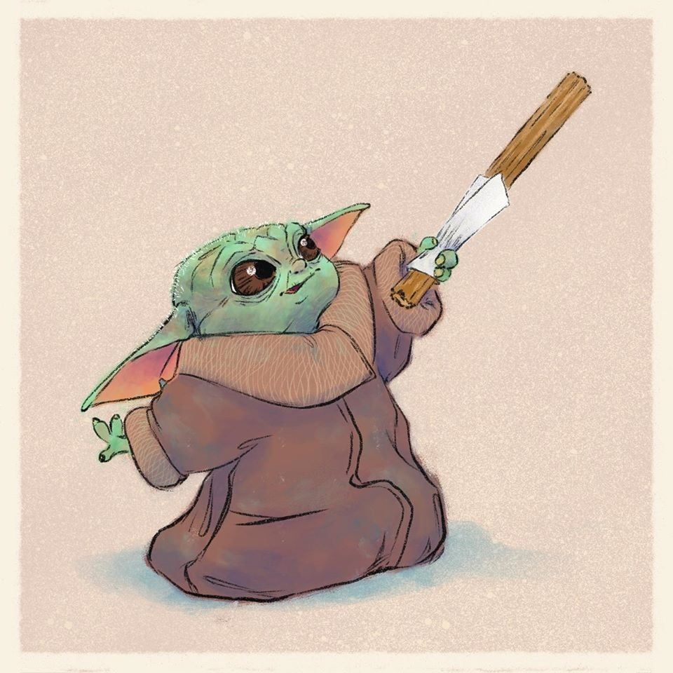 Baby Yoda Eating A Churro Star Wars Fan Art Yoda Drawing Yoda Art