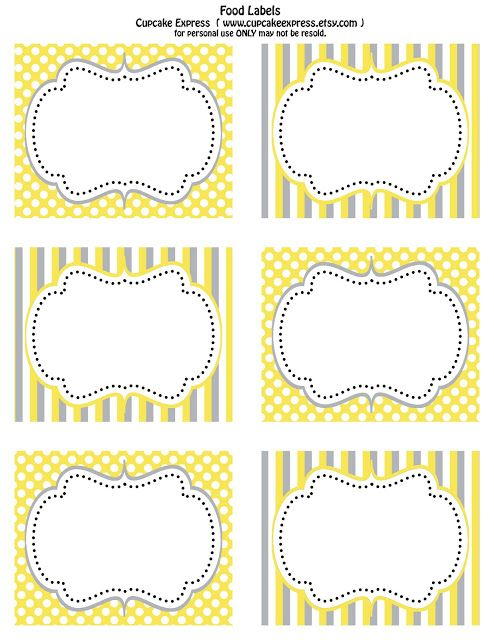 Cupcake Express Free Printable Yellow and Grey food labels\ - free baby shower label templates