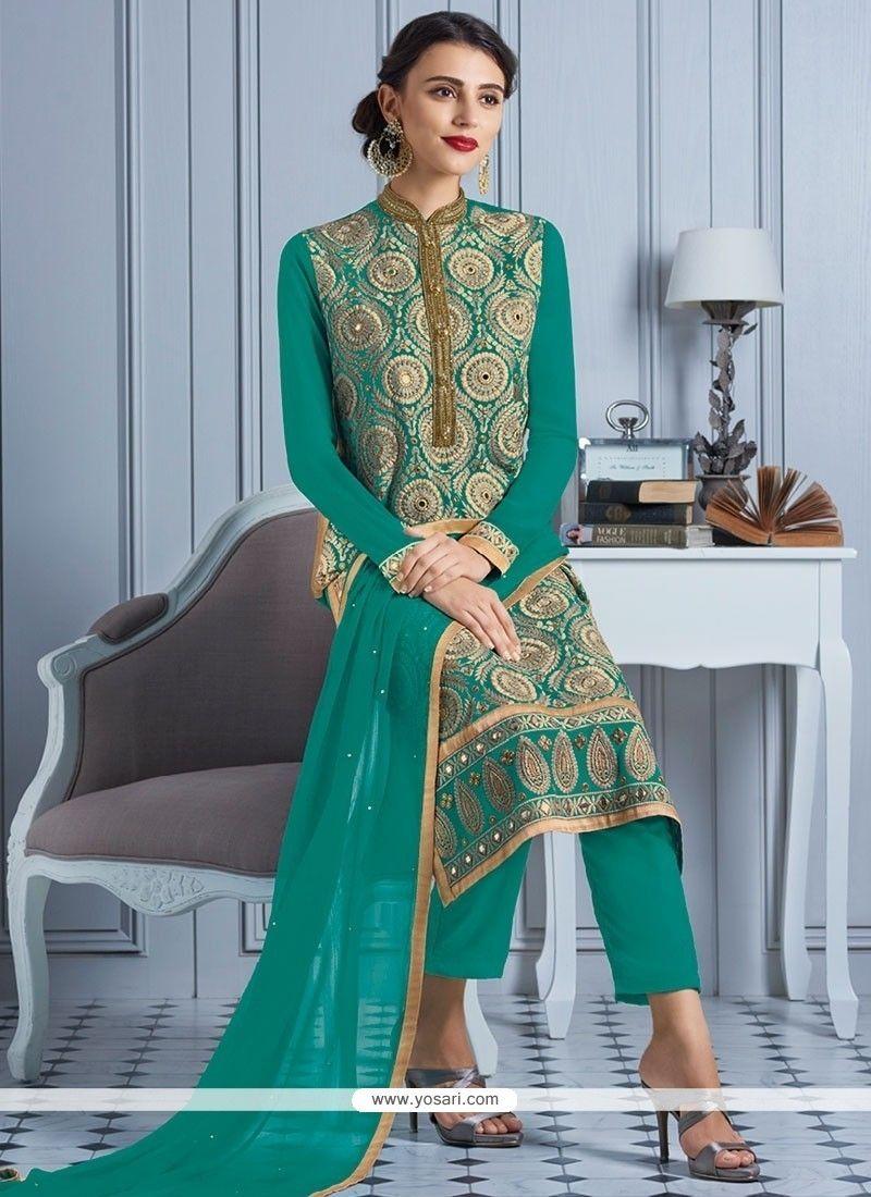 Elegant Resham Work Sea Green Georgette Churidar Designer Suit Model ...