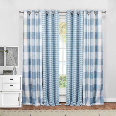 August Grove Dedric Plaid Blackout Thermal Grommet Curtain Panels