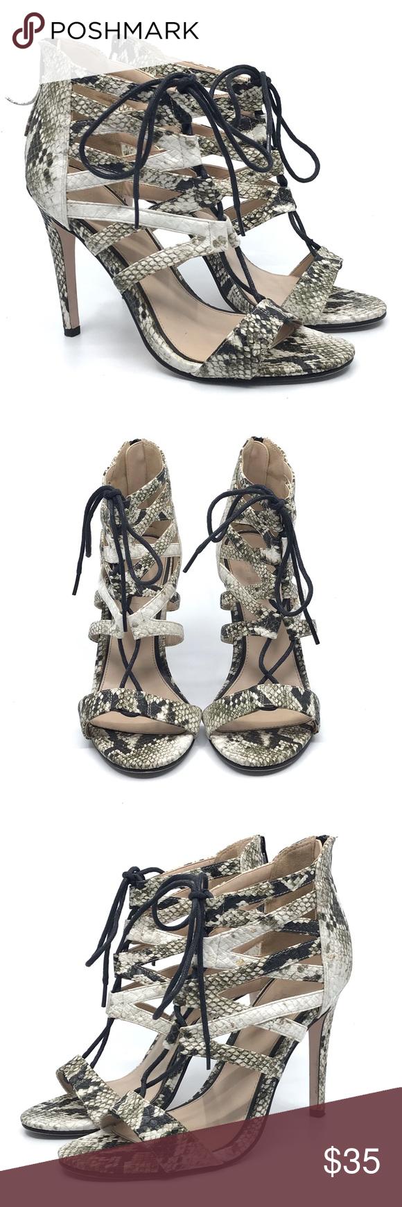 Office London Cream Black Snake Lace Up Cage Heel Caged Heels Heels Shoes Women Heels