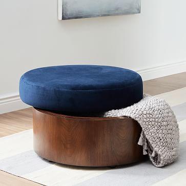 Upholstered Storage Ottoman, Black/White