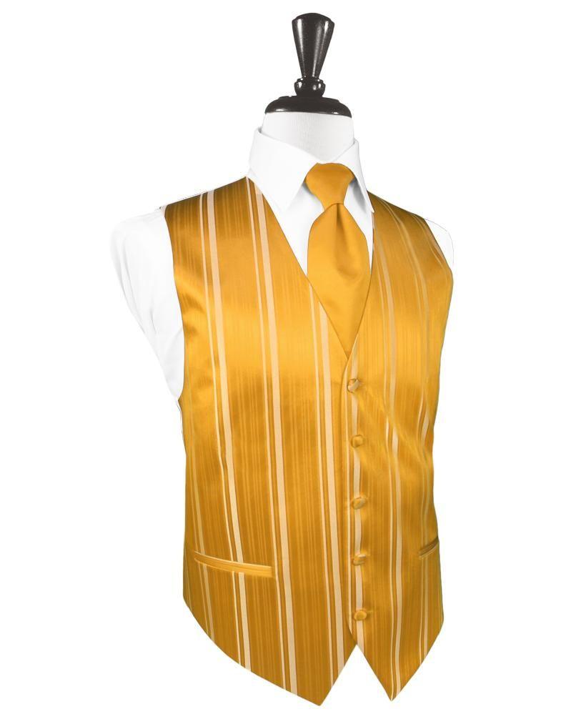 Tangerine Striped Satin Tuxedo Vest