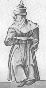 """Old woman in Santander. """"Trachtenbuch de Christoph Weiditz von seinen teisen nach Spanien (1529)und den Niederlandeden (1531/32)"""""""