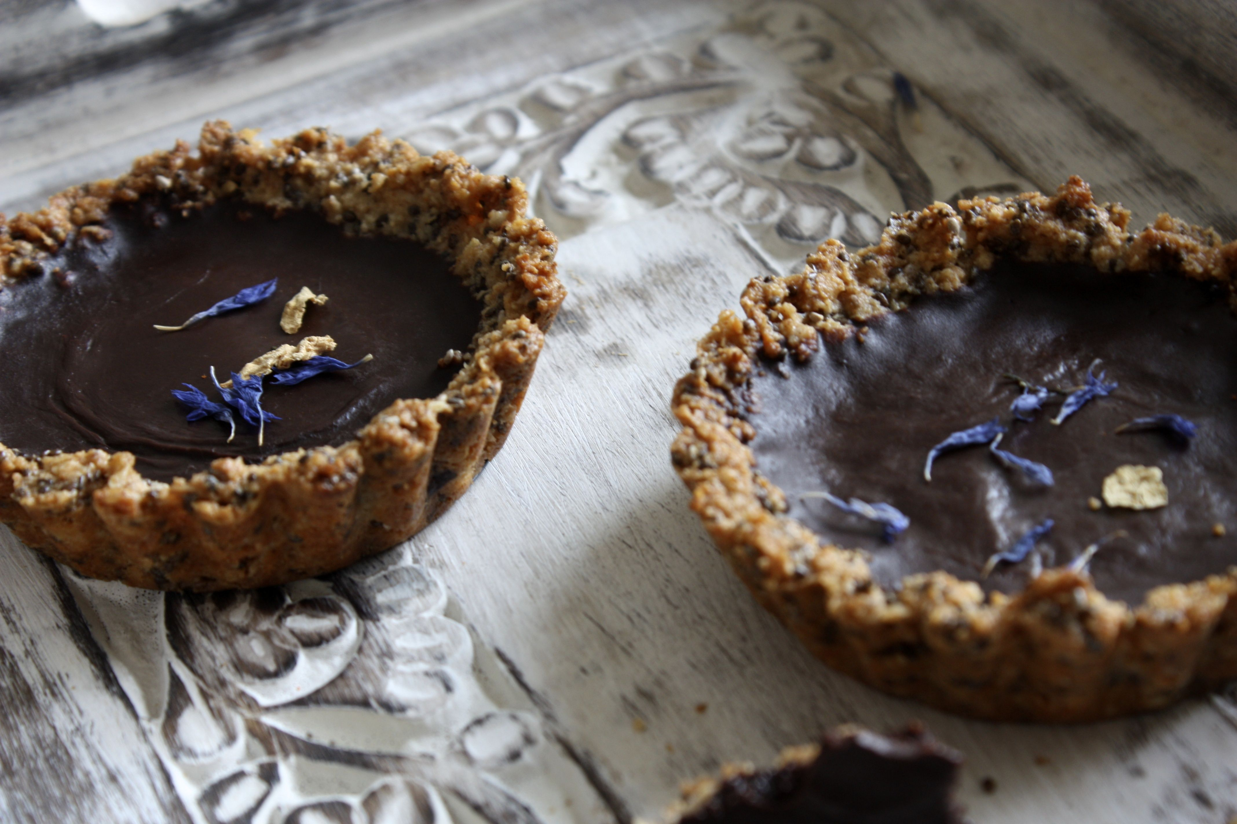 Getting Vegan up in here with some dark chocolate-rose tarts