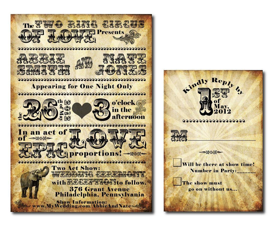 Vintage Circus Themed Wedding Invitation Set - Printable JPG. $40.00 ...