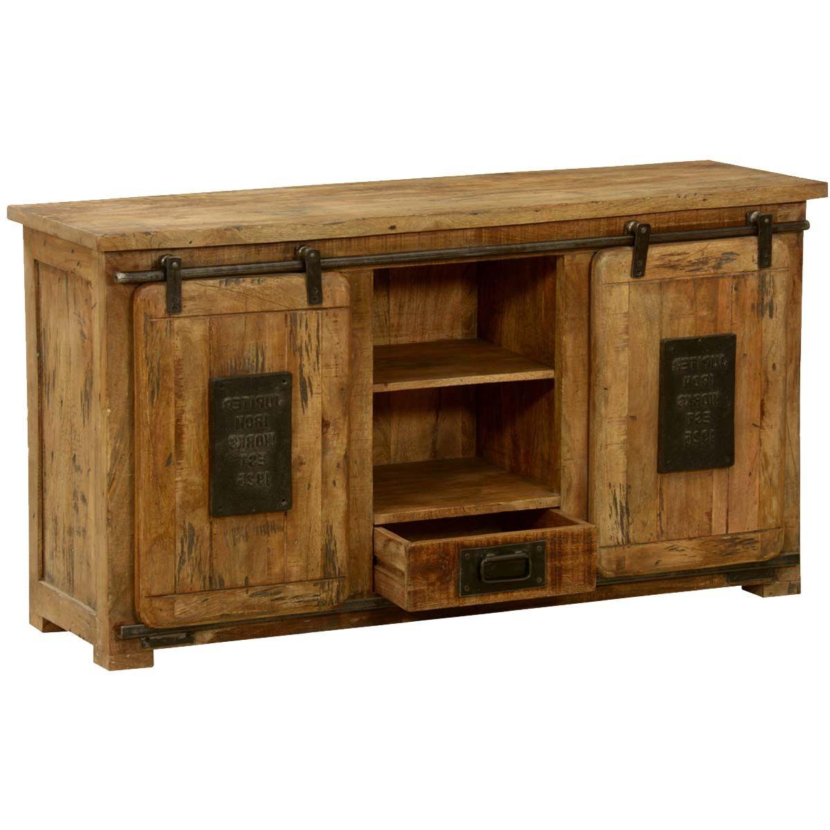 Jupiter Ironworks Mango Wood Iron Sliding Doors Media Cabinet