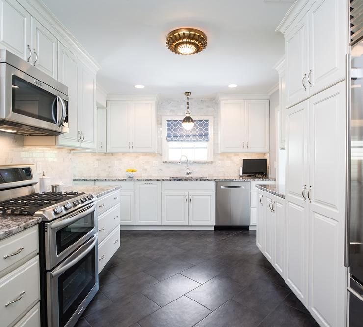 White Cabinets Granite Countertops Kitchen: Lovely Kitchen Features White Cabinets With Raised Panel