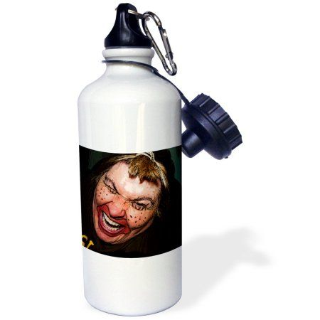 3dRose Lady Dressed Up Like Ugly Clown for Halloween With Her Face Very Animated, Silly and Scary, Sports Water Bottle, 21oz