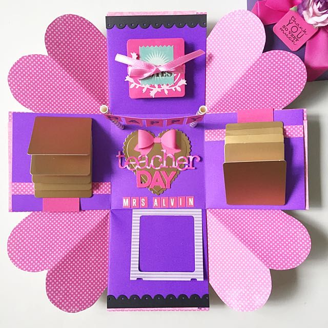 Happy Teacher Day Explosion Box Card In Hot Pink And Purple And Gold Explosion Box Happy Teachers Day Card Box