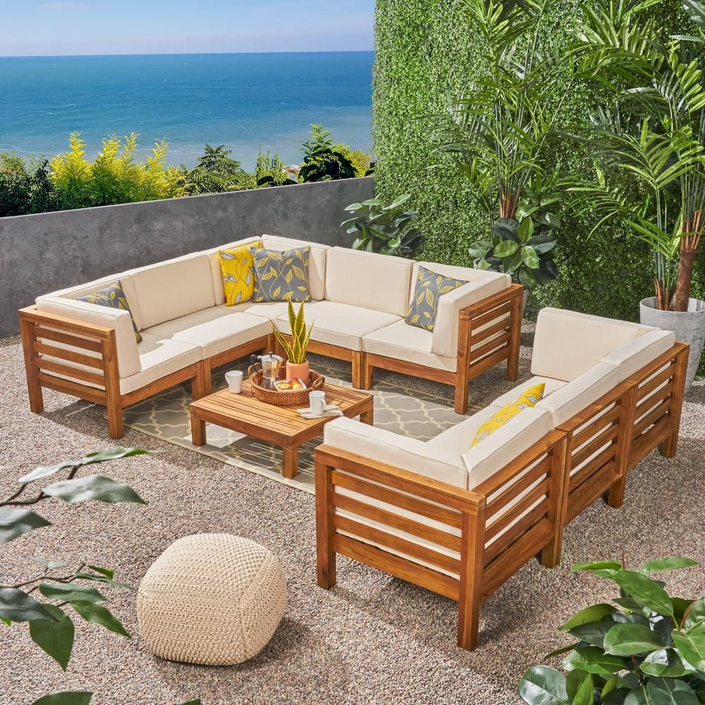 Noble House Jonah Teak 9 Piece Wood Outdoor Sectional Sofa Set With Beige Cushions 307083 The Ho Wood Patio Furniture Backyard Furniture Teak Patio Furniture