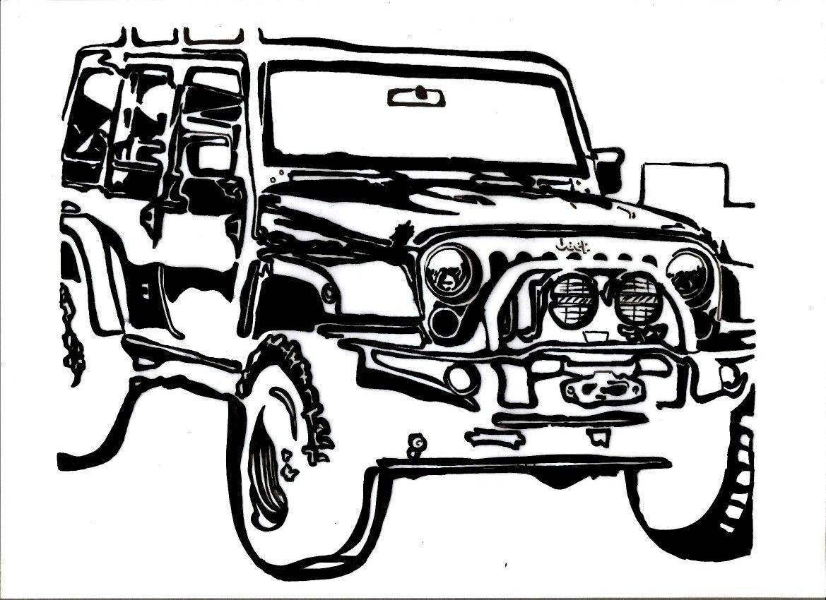 Jeep Wrangler Graphic design exercises Stylization Black and white
