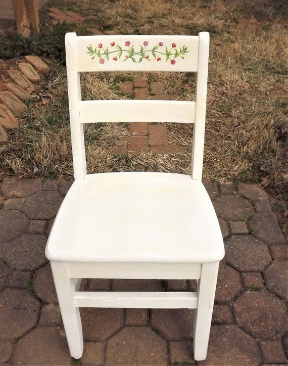 Marvelous Vintage Childs Chair Little White Chair Childrens School Theyellowbook Wood Chair Design Ideas Theyellowbookinfo