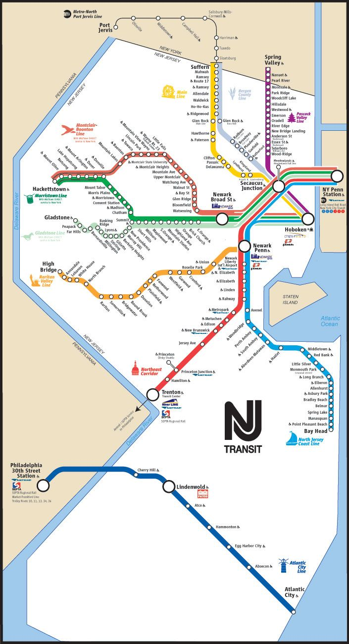 NJ Transit Map Tres important Travel Sources Pinterest Train
