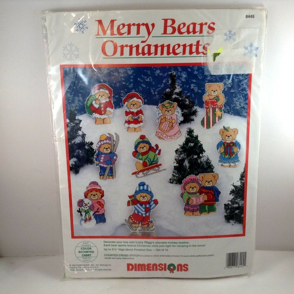 Dimensions Merry Bears Ornaments Counted Cross Stitch Lucy Rigg 8445 Set Of 10 Dimensions Ornaments In 2020 Counted Cross Stitch Cross Stitch Cross Stitch Kits