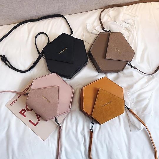 Hexagon style leather crossbody bag