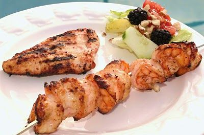 Shrimp and Chicken Kebobs With Blackberry Hazelnut Marinade