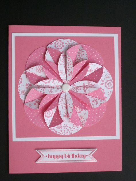 Handmade Greeting Card Monochromatic Pink Huge Folded