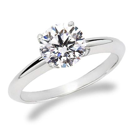 Round Diamond Engagement ring 14K white gold 175 275 mm thick