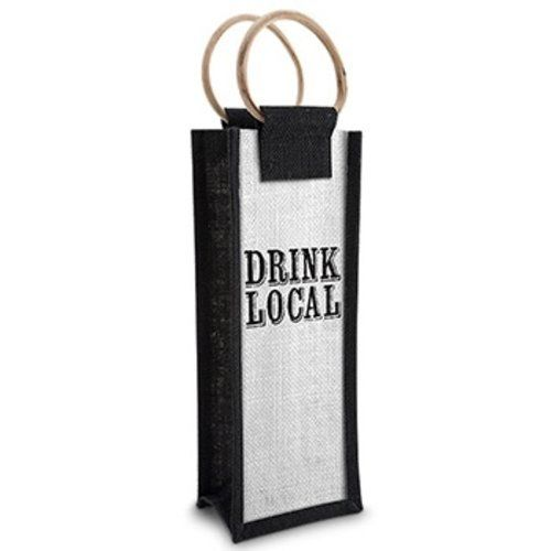 Epic 43-805 Drink Local Jute Bottle Bag Black Writing White Mesh Face Design Style ^^ If you love this, read review now : Christmas Gifts