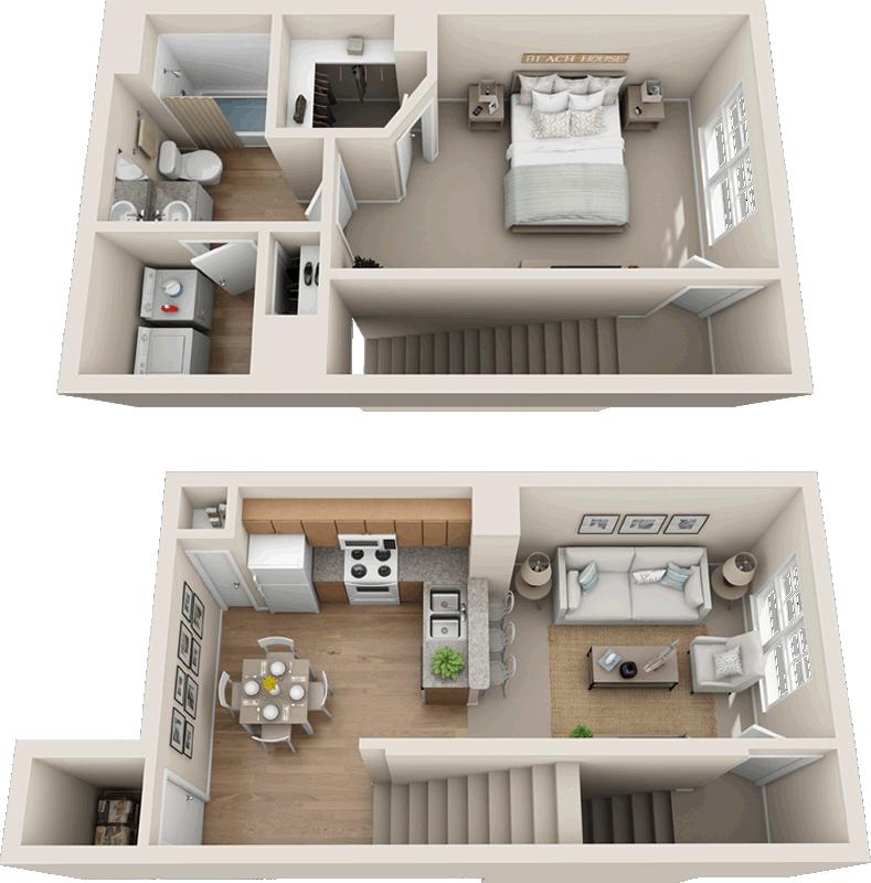 One Bedroom One Bath 760 Sq Ft Home Design Floor Plans Apartment Floor Plans Sims House Plans
