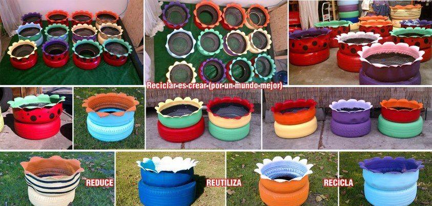 Jardineres fetes amb pneumàtics  https://www.facebook.com/ReciclaresCrearporunMundoMejor