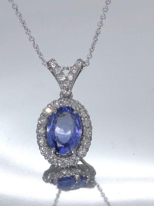 Tegenhanger met saffier 1.00ct en 23 briljant geslepen diamanten totaal 0.55 ct - afmetingen van de hanger: 763 x 1452 mm  Exclusief Sri Lanka saffier hanger versierd met 23 diamanten.centrale steen: sapphireCarat: totaal 1.00 ctKnippen: ovaalAfmeting: 700 X 500 MMEdelstenen zijn vaak behandeld om kleur en helderheid te verhogen.Dit is niet onderzocht voor dit specifieke objectConditie: nieuwOmringende stenen: 23diamondsCarat: 025 ctKnippen: de briljante knippenDuidelijkheid: VSKleur…