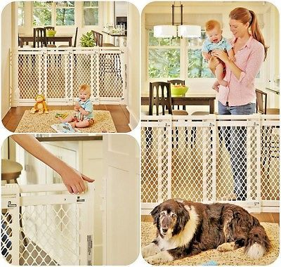 Infant Baby Safety Gate Door Thru Plastic Pet Dog Fence Ivory Extra