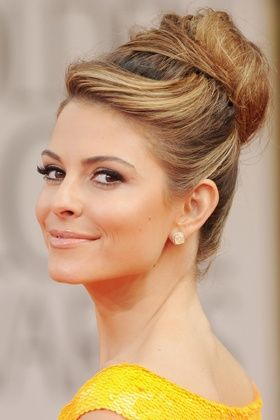 The High Bun With Side Swept Bangs Wedding Inspirations Long Hair Styles Hair Styles Hair Beauty