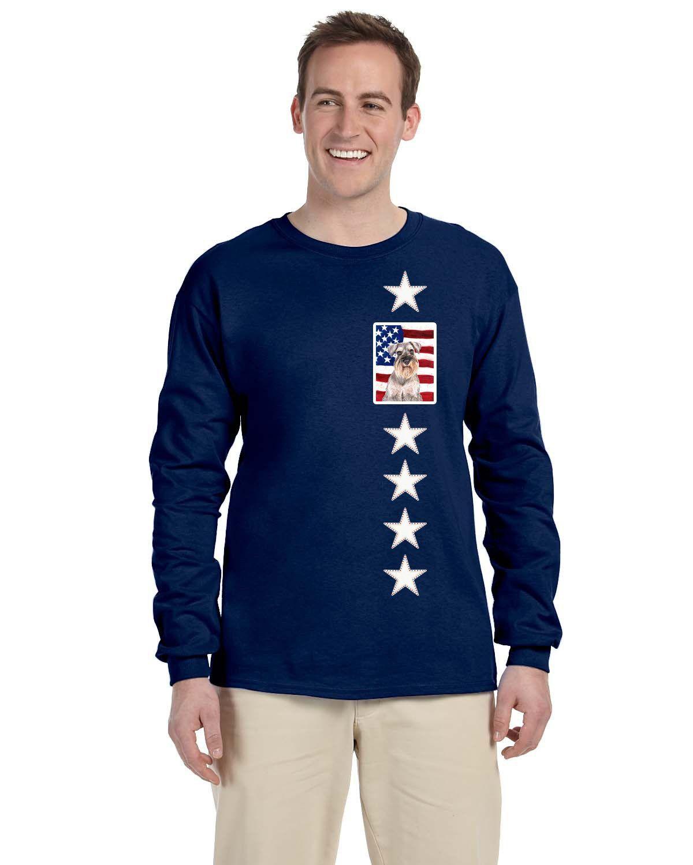 USA American Flag with Schnauzer Long Sleeve Blue Unisex Tshirt Adult Medium