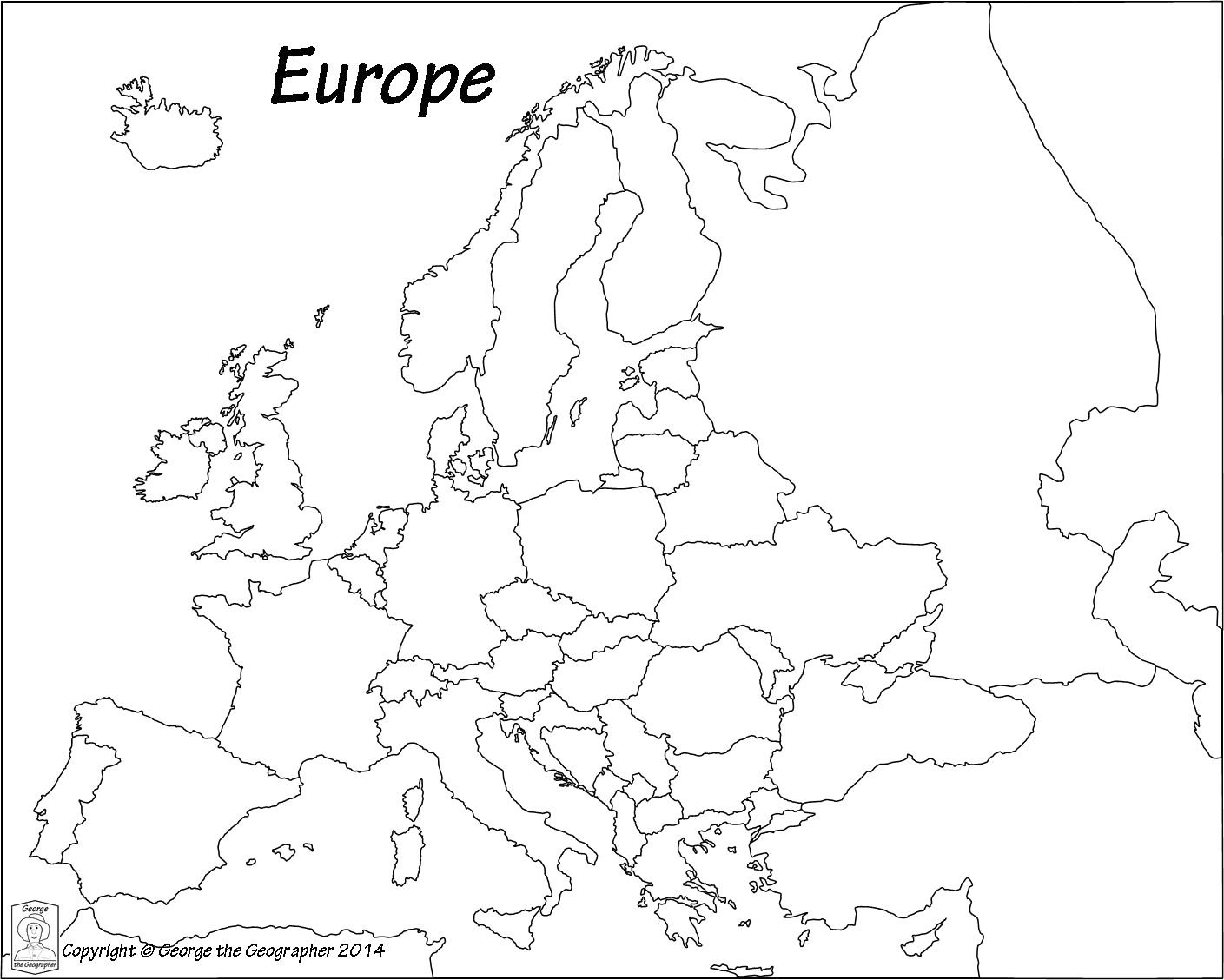 Europe Unlabeled Map Telene Me And Of Black White