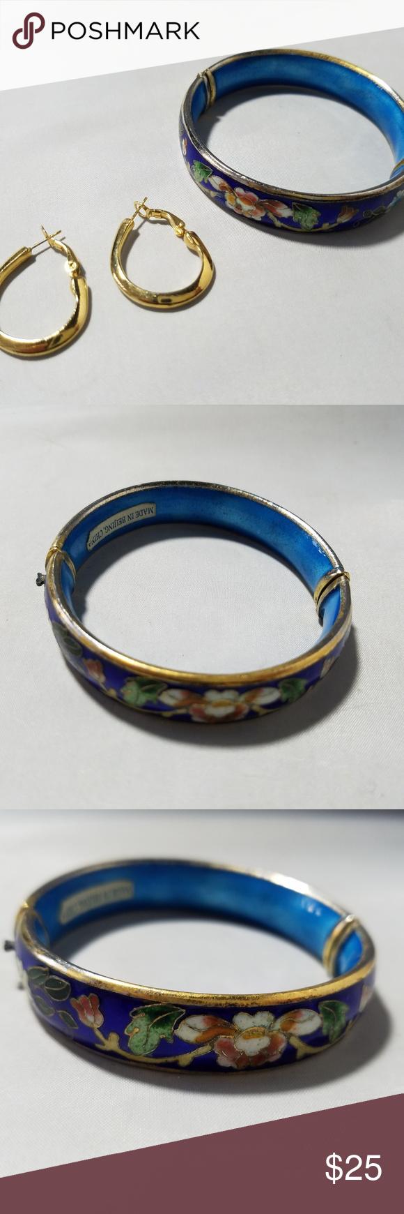 Vintage gold tone blue enamel bangle u earrings my posh picks