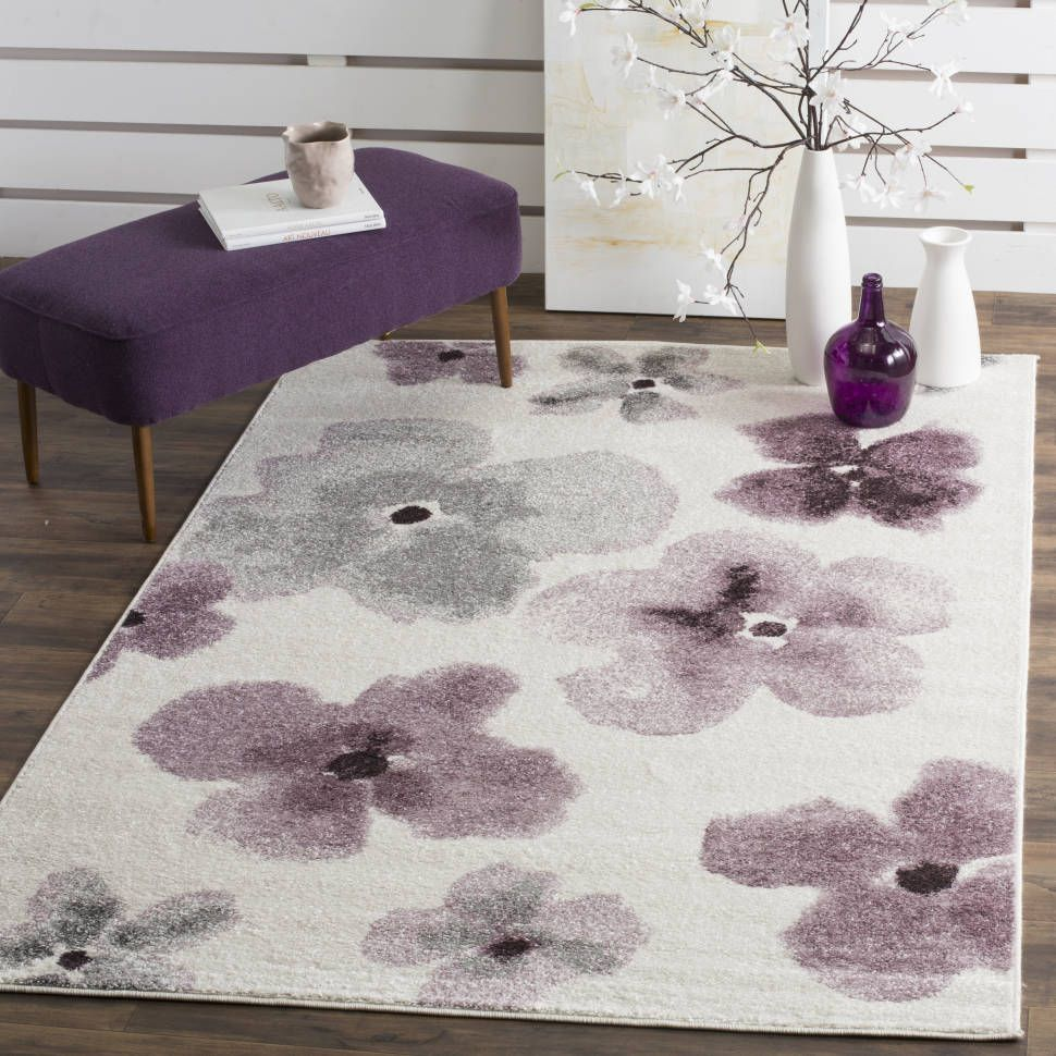 Rowley Regis Cream Plum Purple Basil Green Area Rug Floral Area
